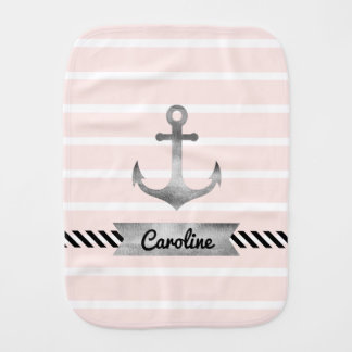 Pink Stripes Watercolor Anchor Personalized Burp Cloth