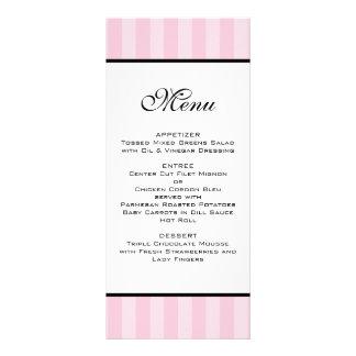 Pink Stripes Wedding Menu Customized Rack Card