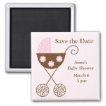 Pink Stroller Baby Shower Save the Date Square Magnet
