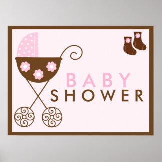 Pink Stroller Baby Shower Sign Print