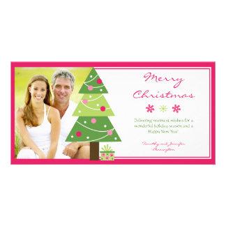 Pink stylish christmas tree snowflakes photo card