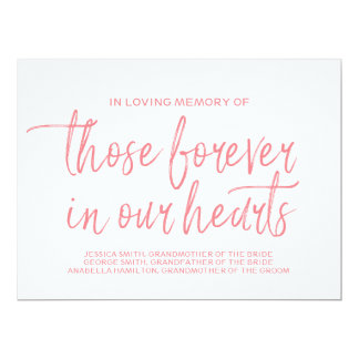 Pink Stylish Hand Lettered Custom Memorial Sign Card