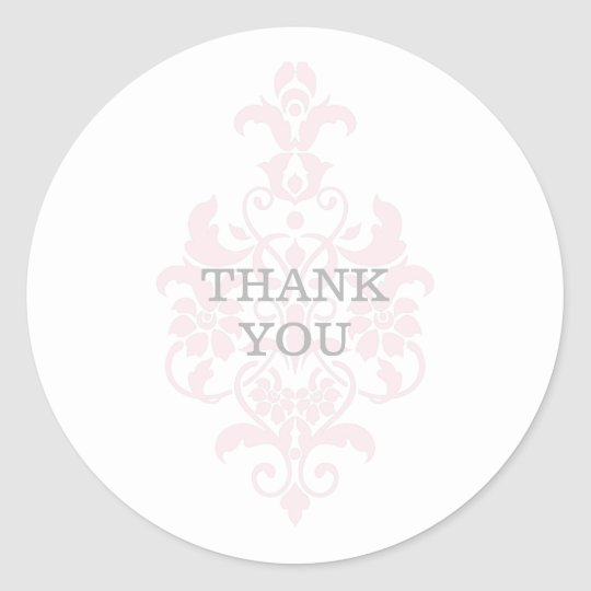 Pink Subtle Damask Thank You Stickers