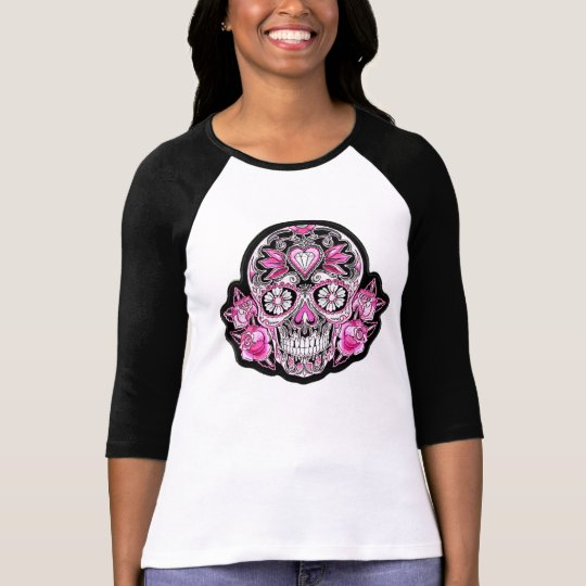 Pink Sugar Skull and Roses T-Shirt