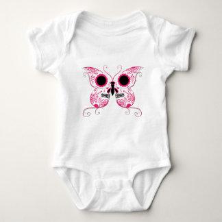 Pink Sugar Skull Butterfly Baby Bodysuit