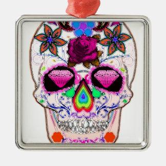Pink Sugar Skull Halloween Silver-Colored Square Decoration