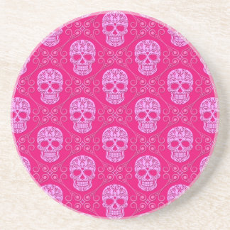 Pink Sugar Skull Pattern Coaster