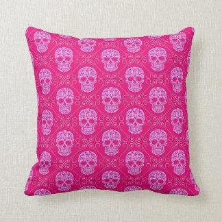 Pink Sugar Skull Pattern Cushion