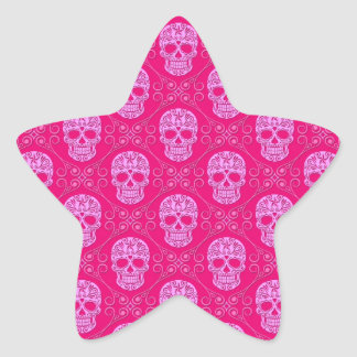 Pink Sugar Skull Pattern Star Sticker