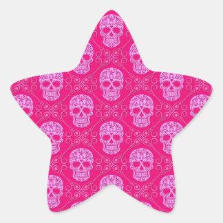Pink Sugar Skull Pattern Star Sticker
