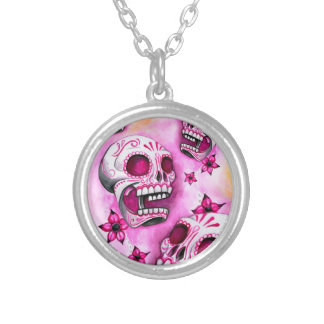 Pink Sugar Skull Round Silver Necklace