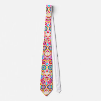 Pink Sugar Skull Tie Day of the Dead