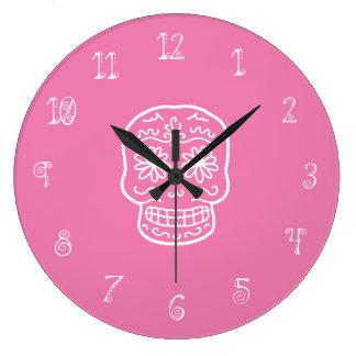 Pink Sugar Skull Wall Clocks