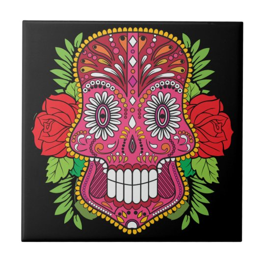 Pink Sugar Skull With Red Roses Green Leaves Small Square Tile