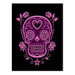 Pink Sugar Skull with Roses on Black Postcard