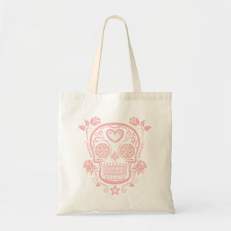 Pink Sugar Skull with Roses Tote Bag