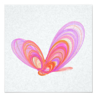 Pink Summer Butterflies Abstract Art 13 Cm X 13 Cm Square Invitation Card