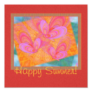 Pink Summer Butterflies Abstract Art 5.25x5.25 Square Paper Invitation Card