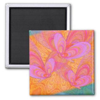 Pink Summer Butterflies Abstract Art Square Magnet