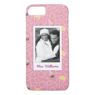 Pink Summer Ice Cream Pattern | Monogram iPhone 8/7 Case