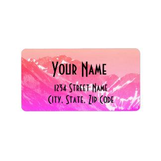 Pink Summer Mountains Address Labels