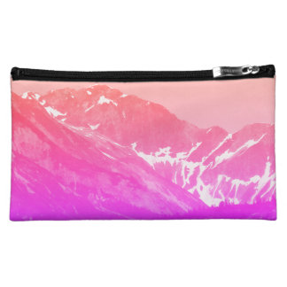 Pink Summer Mountains Bag Cosmetics Bags