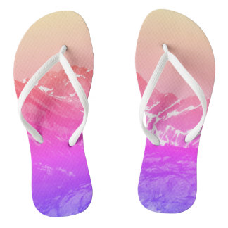 Pink Summer Mountains Flip Flops