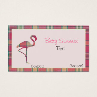 Pink summer Plaid Flamingo Business Card