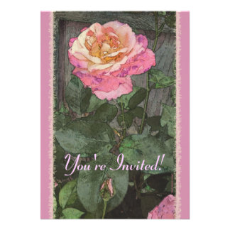 Pink Summer Rose Personalized Invitation