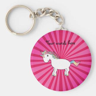 Pink sunburst rainbow unicorn key ring
