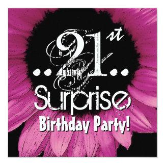 Pink Sunflower 21st Surprise Birthday Template 13 Cm X 13 Cm Square Invitation Card