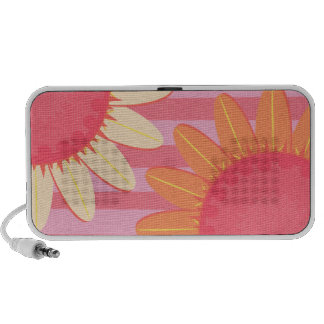Pink Sunflower Stripe Doodle Speaker