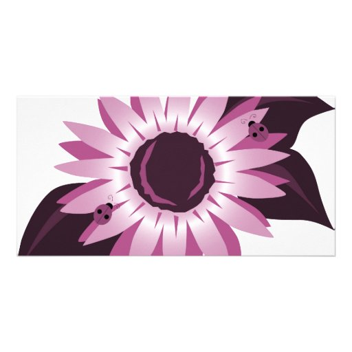 Pink Sunflower With Ladybugs Custom Photo Card