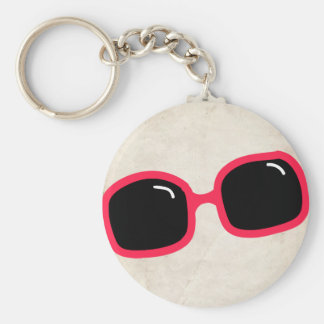 Pink Sunglasses Basic Round Button Key Ring