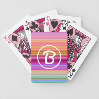 Pink sunrise monogram poker deck