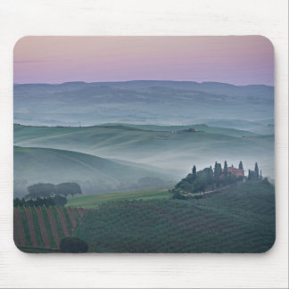 Pink sunrise over a Tuscany landscape Mouse Pad