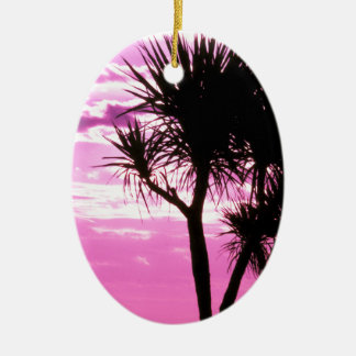 pink sunset christmas ornament