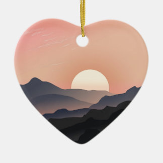 Pink Sunset Design Ceramic Heart Decoration