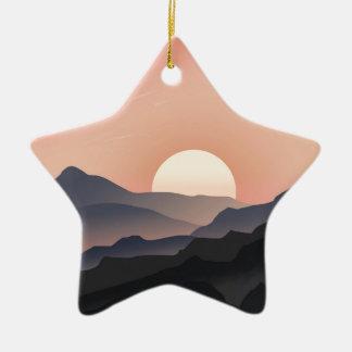 Pink Sunset Design Ceramic Star Decoration