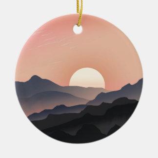 Pink Sunset Design Round Ceramic Decoration