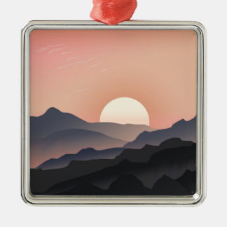 Pink Sunset Design Silver-Colored Square Decoration