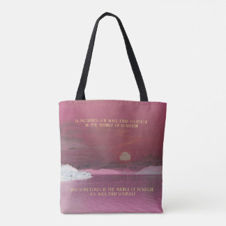 """Pink Sunset Landscape """"Finding Yourself"""" Quote Tote Bag"""