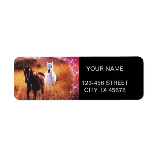 Pink Sunset Western country Galloping Horses Return Address Label