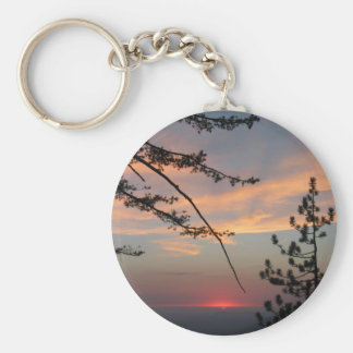 Pink Sunset With Pine Tree And Clouds At Yosemite, Basic Round Button Key Ring
