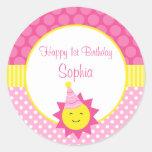 Pink Sunshine Polka Dot 1st Personalised Birthday Round Sticker