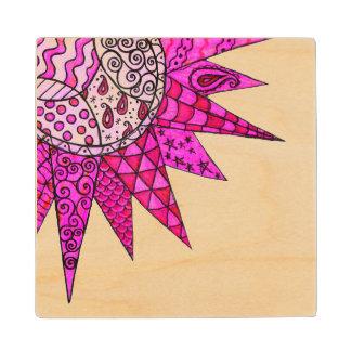 Pink Sunshine - Wooden Coaster