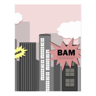 Pink Super Hero City Postcard