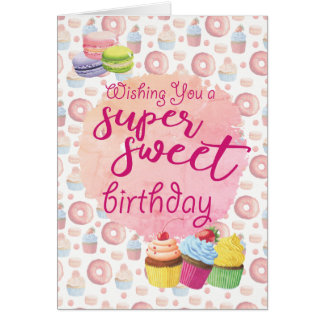 Pink Super Sweets Cupcakes Birthday Card