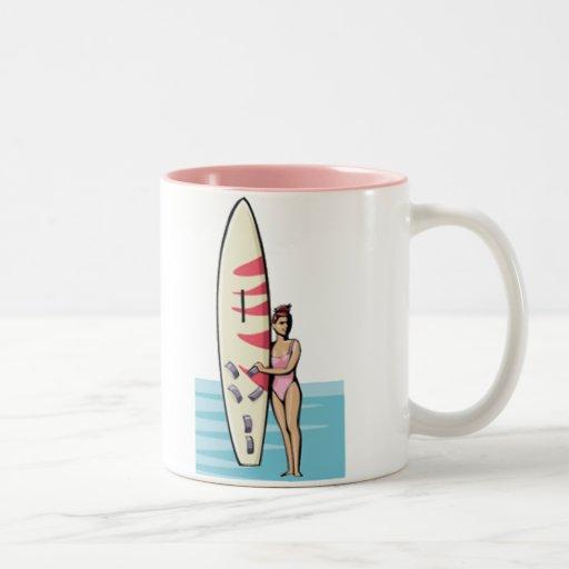 Pink Surfer Girl Mugs