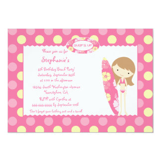 "Pink surf's up swimming birthday party invitation 5"" x 7"" invitation card"